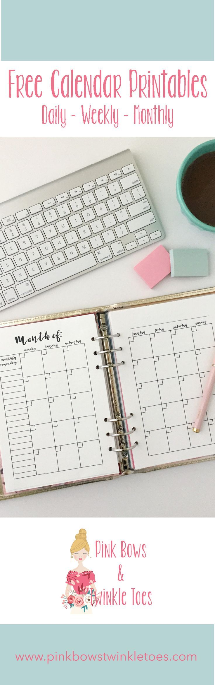 Calendar Roundup: Free Planner Printables - Daily weekly monthly calendar planning inserts for A5 planners and mini binders - instant PDF download - Pink Bows & Twinkle Toes