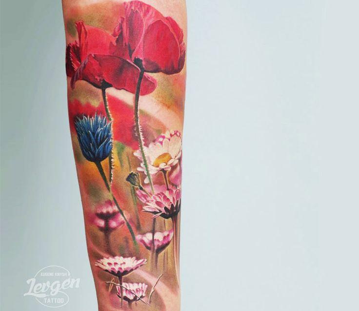 Realistic Flowers Tattoo by Levgen Eugene Knysh | Tattoo No. 13371
