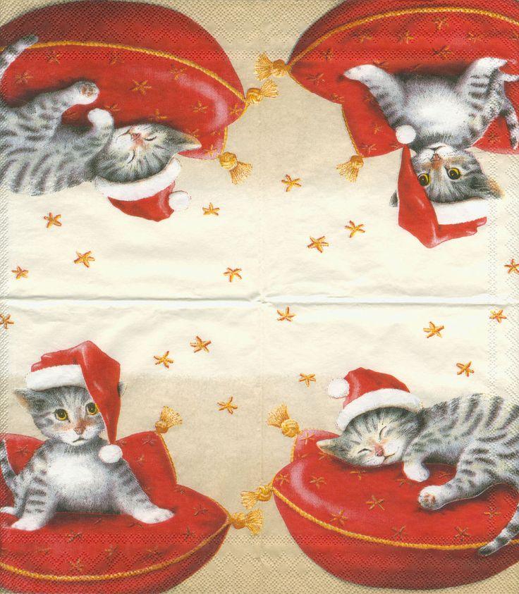 Tovagliolo con gatto gatti Natale per decoupage o decorazione tavola (33x33 cm)