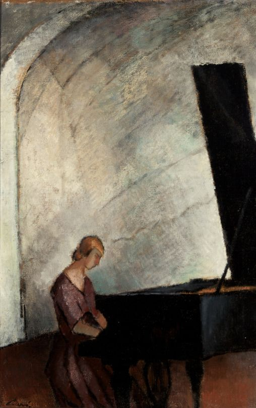 Alvar Cawén (Finnish, 1886-1935), Flyygelin ääressä [Sitting in front of the grand piano]. Oil, 97 x 61 cm.