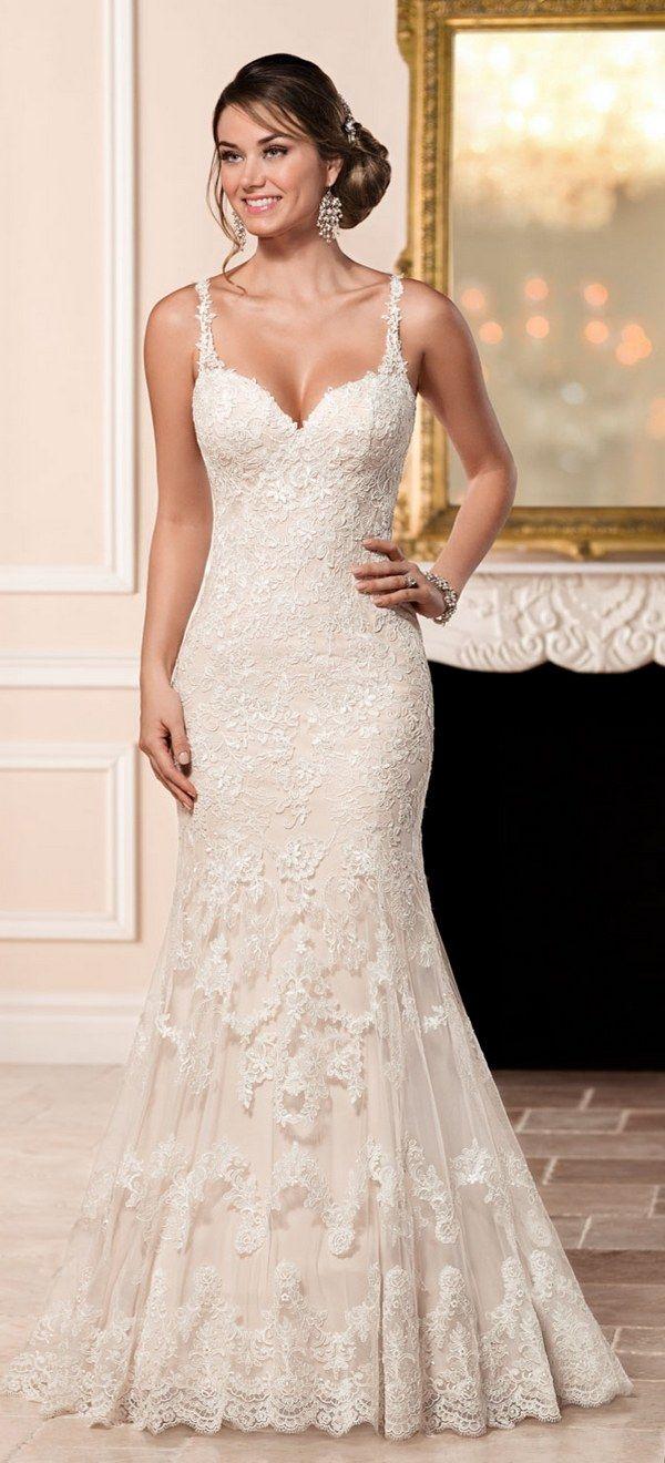Stella York Sheath Wedding Dress with Illusion Back style 6329 a / http://www.deerpearlflowers.com/stella-york-fall-2016-wedding-dresses/3/