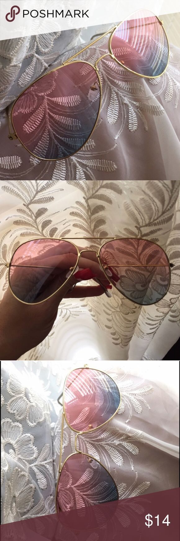 """☀️NEW☀️ Pink/Blue Transparent Ombré Aviators ❗️PRICE IS FIRM❗️ Transparent pink & blue ombré lenses. Gold frames . Clear arm/ear guards. Approximately 5.75"""" across frame front, 2 x 2.75"""" each lens frame. Fit and comfort not guaranteed. Unbranded. Drawstring pouch and small lens cloth included. All images show example of actual stocked glasses. I do not model. Brand new retail w/o tag. No trades, no off App transactions. Leoninus Accessories Sunglasses"""