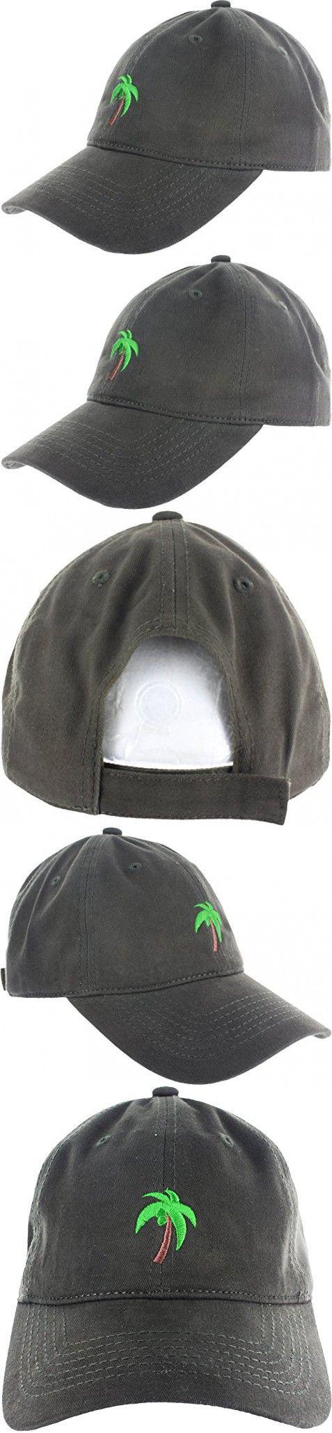 Dad Hat Cap - Palm Tree Emoji Embroidered Adjustable Dark Green Baseball Cap