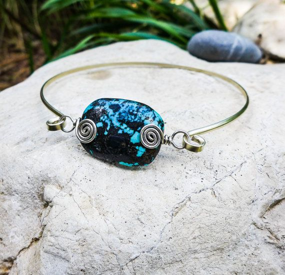 Silver Turquoise armlet, arm cuff, arm bracelet, German silver and Tibetan Turquoise natural stone, Handmade. Wire wrap, Metal cuff, Boho