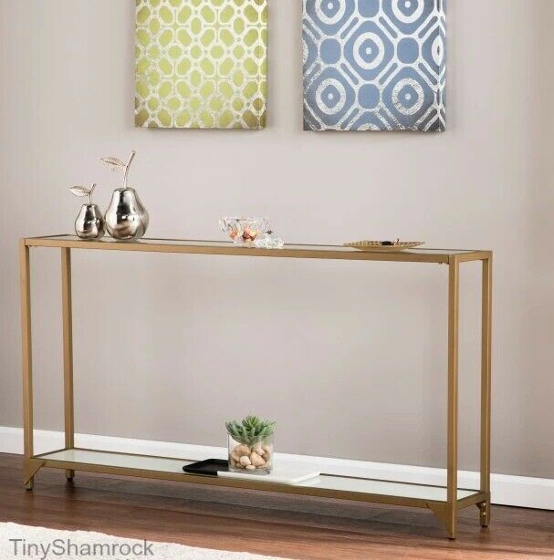 Narrow Console Table Glass Top Glam Gold Sofa Entry Accent Furniture Slim Metal Tinyshamrockusa Glammoderncontemp Narrow Console Table Gold Sofa Glass Table