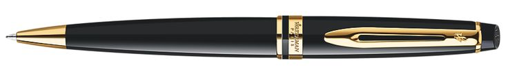 Waterman Expert Black Lacquer Gold Trim Ballpoint