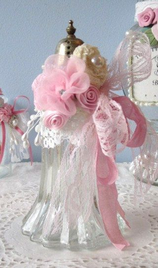 Salt Shaker BOTTLE Shabby Chic PINK White Roses by RoseChicFriends, $20.99