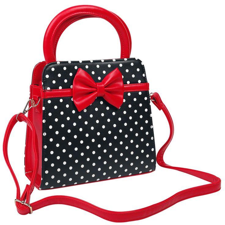 Dancing Days - Polka Dots handtas  - zwarte handtas met witte stippen en rode strik op de voor- en achterkant - hoofdvak met ritssluiting - hoofdvak verdeeld in twee kleinere vakken met een vakje met ritssluiting in het midden - met haken aan beide kanten waaraan de schouderband (inbegrepen) bevestigd kan worden - met schouderband van ca. 60 - 111 cm (verstelbaar) - breedte: ca. 24,5 cm - hoogte zonder draaghendels: ca. 23 cm - hoogte met draaghendels: ca. 34 cm - diepte: ca. 9,5 cm