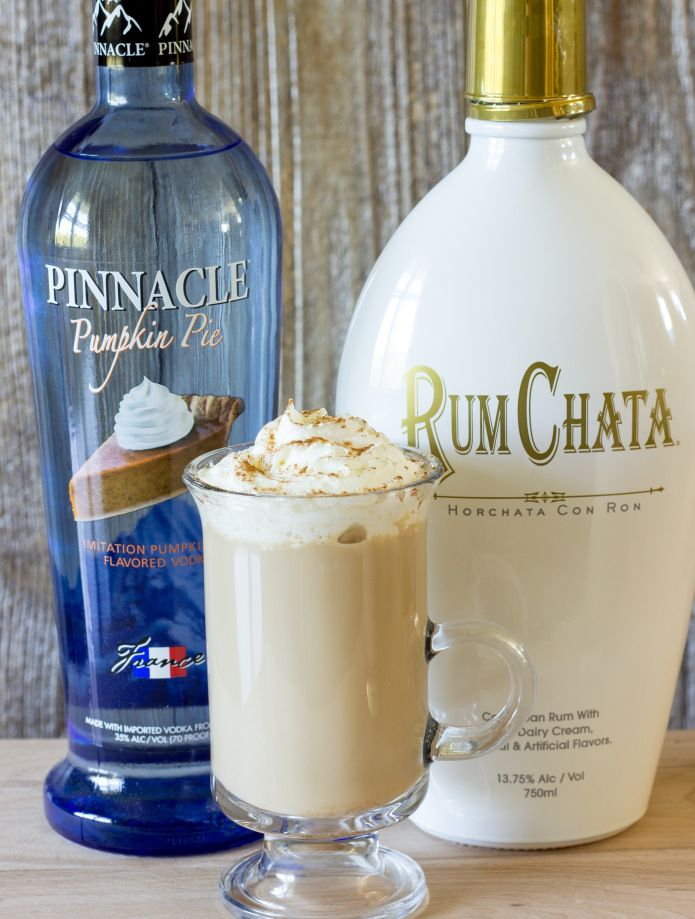 Drunken Pumpkin Latte 1 cup brewed coffee ¼ cup milk ¼ cup RumChata 2 Tbsp. pumpkin pie vodka 1 Tbsp. sugar ⅛ tsp. ground cinnamon