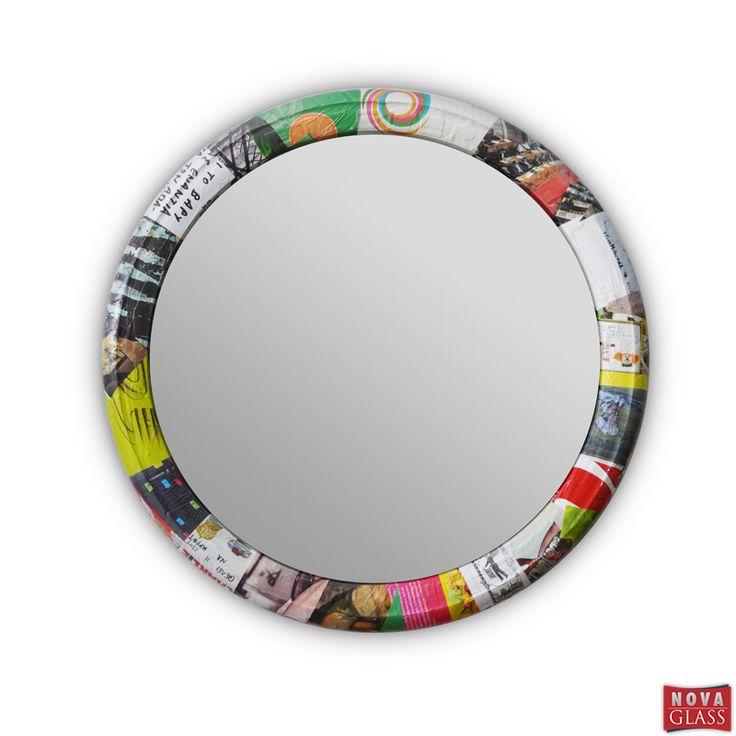 Καθρέπτης κρεμαστός Φ54 με ελαστικό μηχανής με κολάζ | Nova Glass e-shop