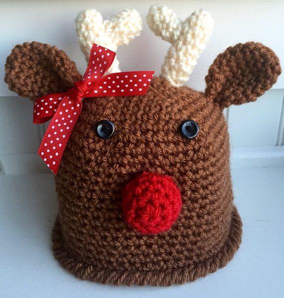 Крючком оленей шляпа/ детские оленьи шляпы/ Рождество шляпы/ олень ребенка шляпу младенческой, малыша и размеры ребенка