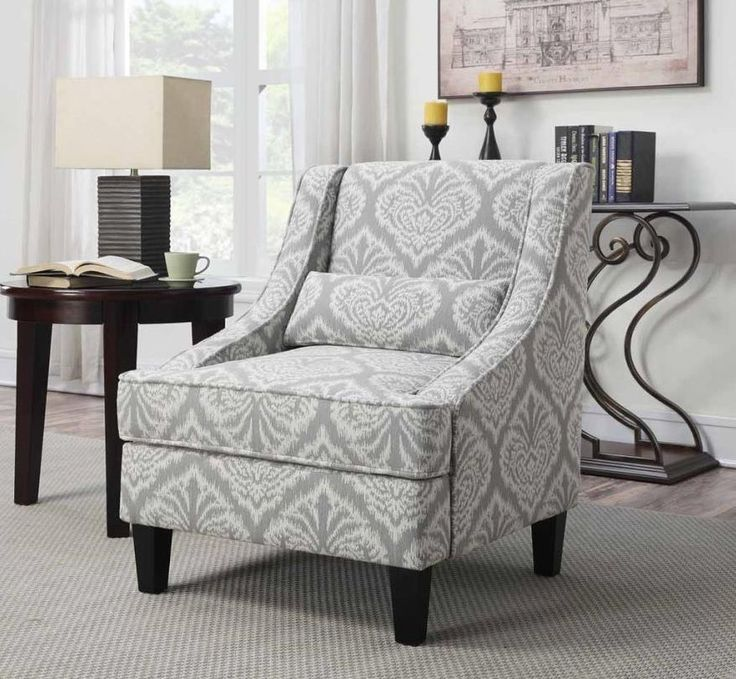 Accent Chair With Gray And White Jacquard Pattern