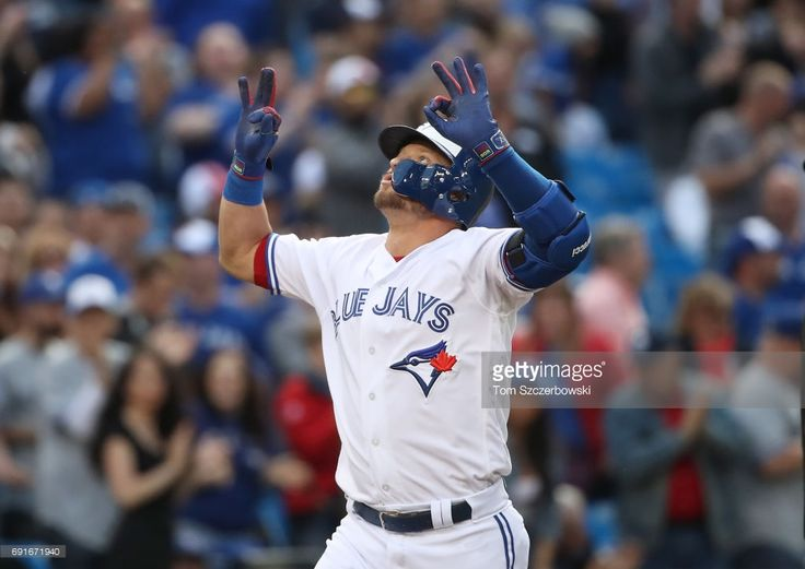 Josh Donaldson #20 of the Toronto Blue Jays celebrates after hitting a solo home run in the first inning during MLB game action against the New York Yankees at Rogers Centre on June 2, 2017 in Toronto, Canada.