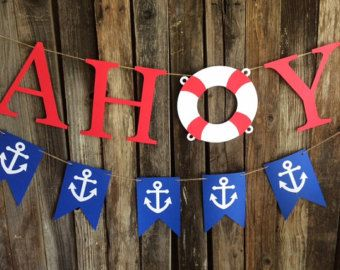 Nautical Banner Nautical Birthday Banner by DreamsByTheRiver