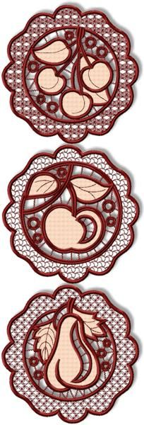 Advanced Embroidery Designs. Free Projects and Ideas. Cutwork Lace Fruit Doilies. Set of machine embroidery designs