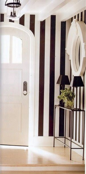 Love the contrast of black  white stripes with a solid color to balance it out.