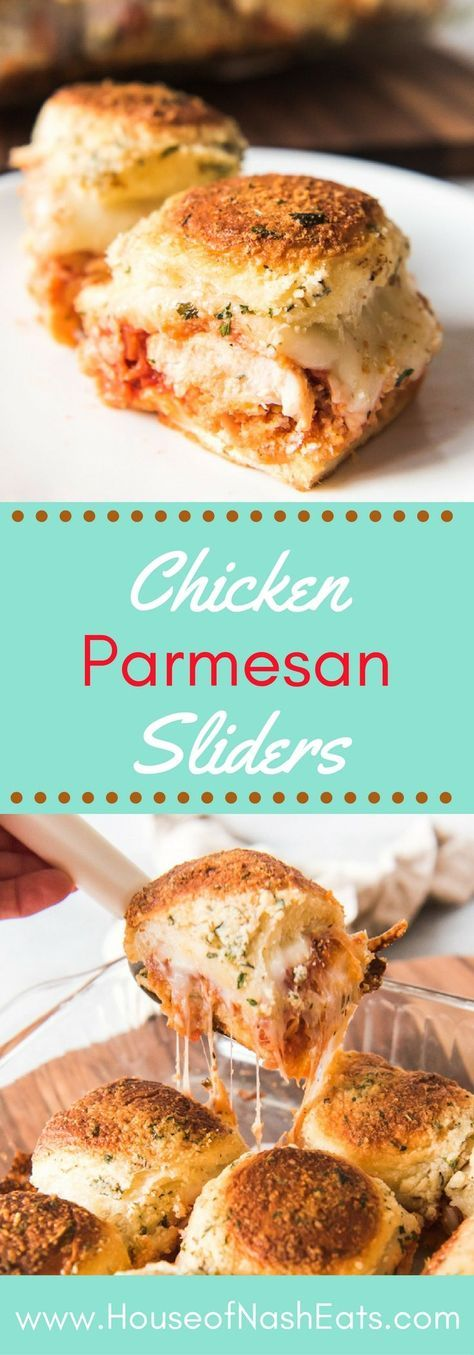 These cheesy Chicken Parmesan Sliders are an easy game day party appetizer or a fun weeknight meal that the entire family will enjoy!  Soft sandwich rolls loaded with crispy breaded chicken tenders, marinara sauce, and lots of gooey mozzarella cheese make these sliders a fun take on the classic Italian-American Chicken Parmigiana! #chicken #sliders #parmesan #parmigiana #gameday #partyfood