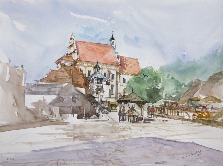Kazimierz Dolny, 42x56cm, 2009 www.minhdam.com #architecture #watercolor #watercolour #art #artist #painting #kazimierz #dolny #poland