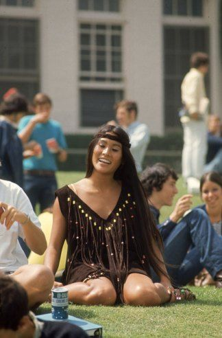 Student Rosemary Shoong at Beverly Hills High School, wearing a dress she made herself, 1969.. Fashions of 1969
