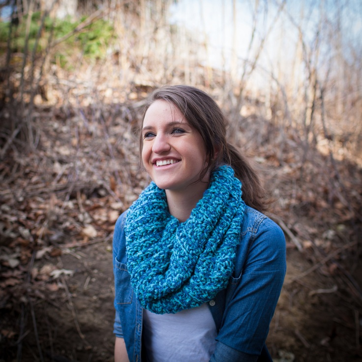 Blues crochet cowl, scarf, infinity scarf, snood, chunky knit, teal, turquoise, blue. $26.00, via Etsy.