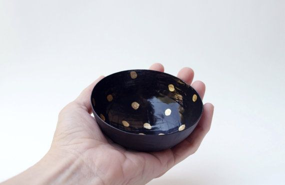 Dot Paper Mache Bowl in Black and Gold The Mini by etco on Etsy