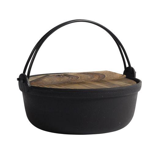 Marmite faitout en fonte avec anse et couvercle bois Nordal