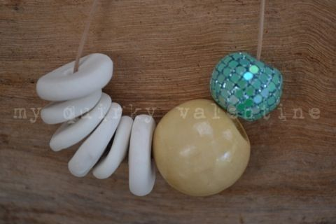 natural sparkle- handmade polymer clay beads with wooden bead and embellishment.