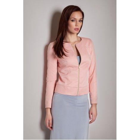 Jacheta moderna de stofa roz cu fermoar