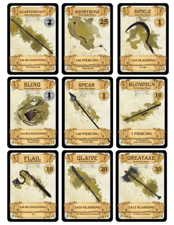 Dm Paul Weber Weapon Cards For In 2019 D Amp D