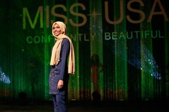 Jovem muçulmana desfila de hijab em concurso de miss nos EUA