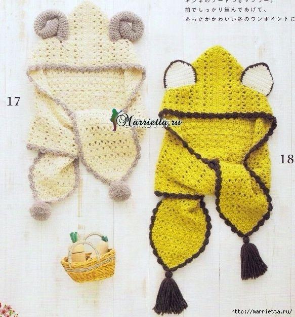 Детский шарф-капюшон с ушками крючком. Схема (2) (583x625, 282Kb)