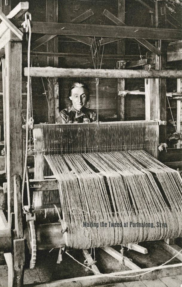 Weaving with a hand loom at Portnalong, Isle of Skye