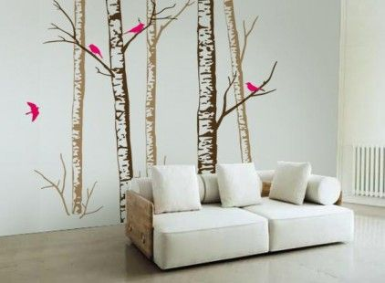 Birch Forest Brown Wall Stickers by zazous
