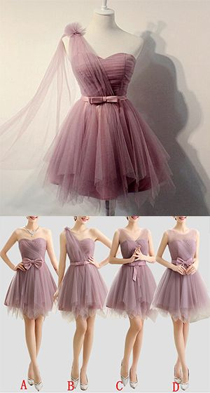 Charming A-line Bridesmaid Dress,Sweetheart Tulle Short Prom Dress,Bridesmaid Dress,Homecoming Dress With Belt