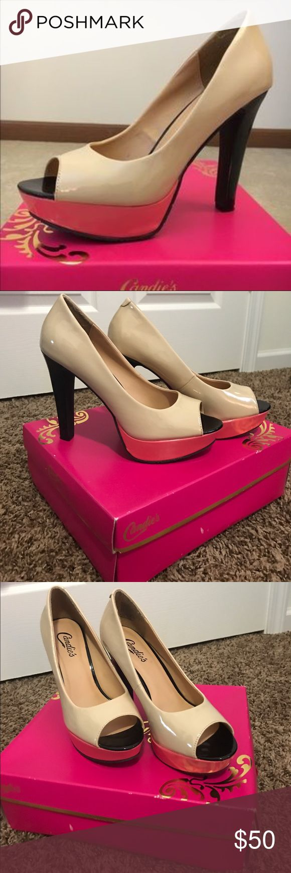 Candie's Coral & Cream Pumps Worn once, brand new condition. Comes with box! Color is casunny blush. Peep toe.💢Please buy with the intentions of knowing this may not fit you. You know you're size not me. So please don't give me a rating less then 5 if an item doesn't fit to your liking💢 Bundle & Save‼️ Candie's Shoes Heels