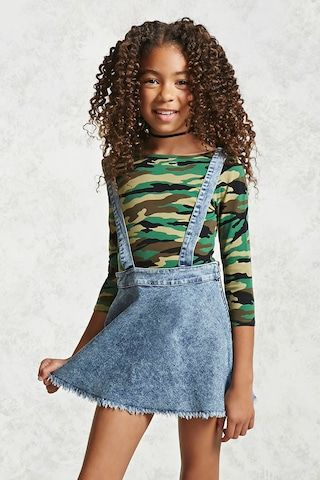 Forever 21 Girls - A knit bodysuit featuring an allover camouflage print, 3/4 length sleeves and a scoop neck and back.
