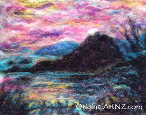 Felted wallhanging - sunset Monkey Island,