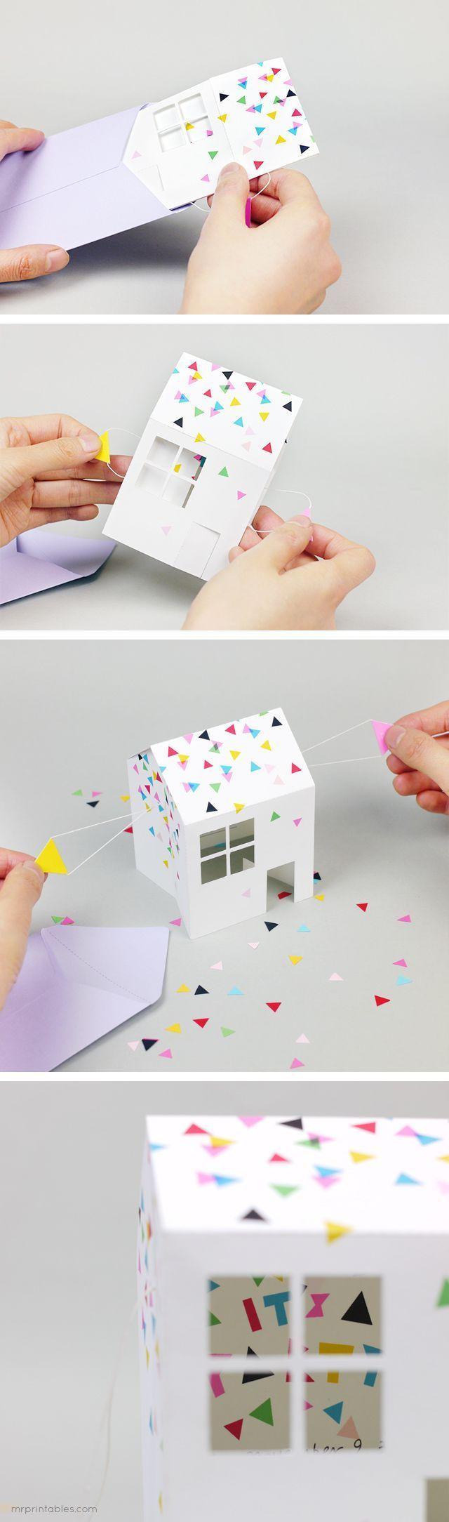 Invitación descargable con forma de casita
