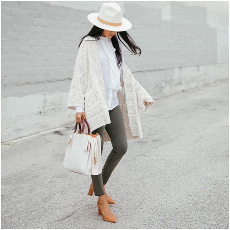**** Get this exact outfit, head to toe, from Stitch Fix today! Loving these awesome grey skinny jeans paired with off-white and white layers. LOVE the white wide brimmed hat and pointed toe nude booties. Fantastic look!!!Stitch Fix Fall, Stitch Fix Spring Stitch Fix Summer 2016 2017. Stitch Fix Fall Spring fashion. #StitchFix #Affiliate #StitchFixInfluencer