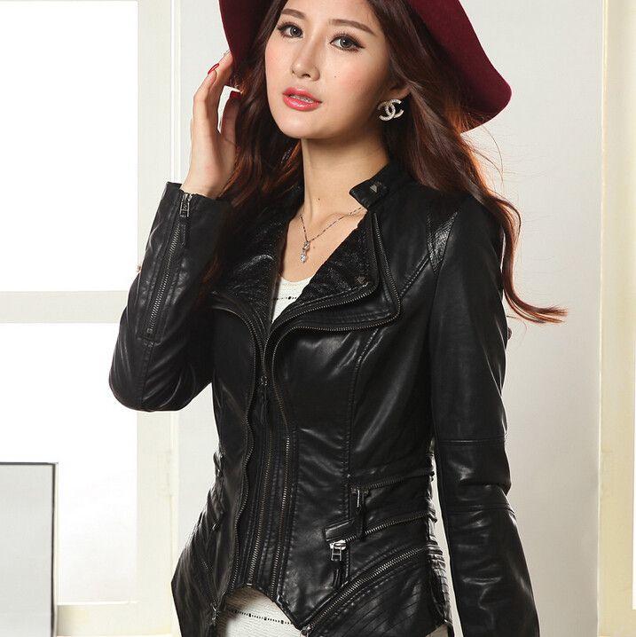 2015 бесплатная доставка новый женский кожаный пиджак объединившись тонкий короткие куртки мотоцикла кожа отложным воротником женщин пальто