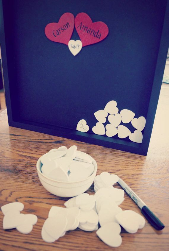 DIY shadowbox with wooden hearts
