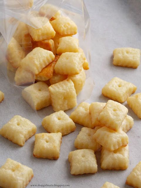 These are super good and very easy to make.  I doubled the batch and used both the aged white cheddar and sharp cheddar, did not sprinkle salt on top before baking. Shopgirl: Homemade Cheez-Its