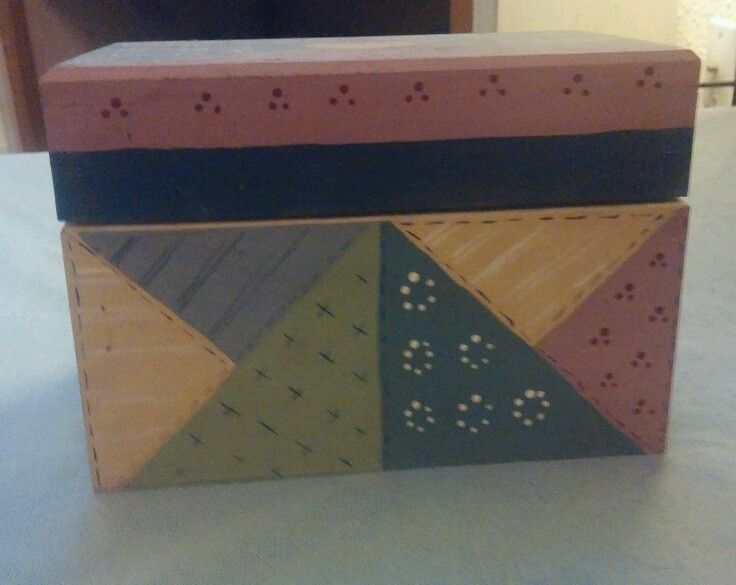 Quilted Wood Recipe Box in Collectibles   eBay