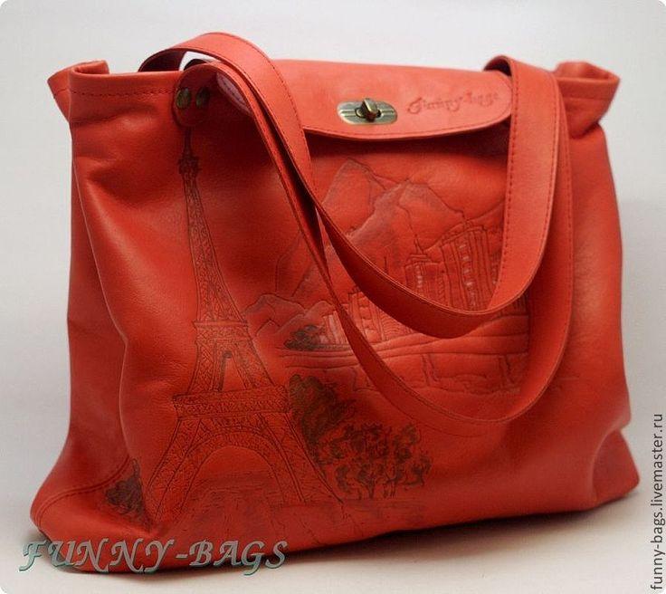 """Купить Кожаная сумка """"Париж"""" - коралловый, рисунок, Париж, город, перфорация, перфорированная кожа, сумка"""