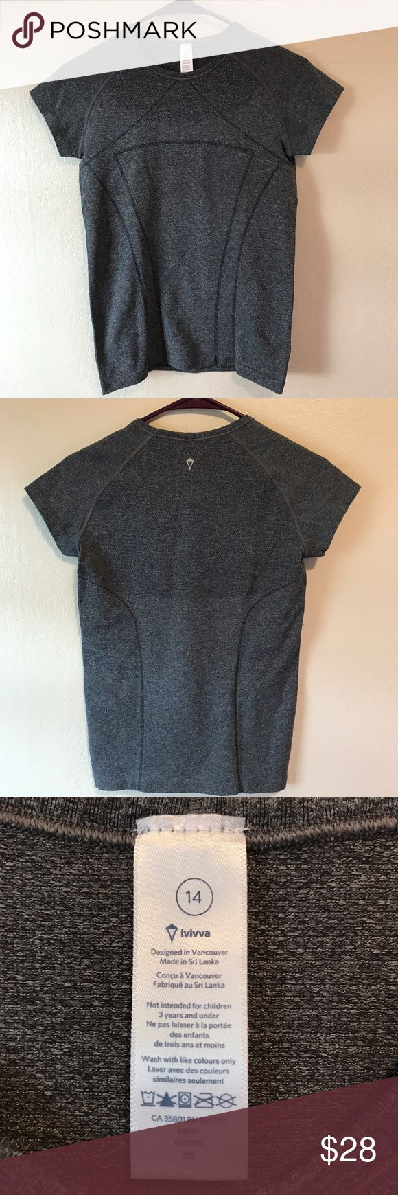 Ivivva by lululemon Grey Fly Tech Short Sleeve Tee Ivivva by lululemon grey fly Knit short sleeve tee in excellent used condition. Kids 14 should fit women's 2-4. From a smoke free, pet friendly home. Feel free to ask questions! PRODUCT DESCRIPTION: This too-cool tee features mesh ventilation and Silverescent® technology for a practice-ready piece that stays cool and clean.  Features  Silverescent® technology powered by X-STATIC ® inhibits the growth of odor-causing bacteria  Classic fit…