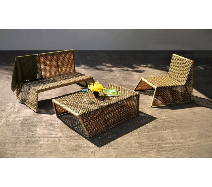 Abby Set - Made out of environmentally friendly synthetic rattan and powder coated aluminium frame.    1 x two seater sofa   1 x single chairs  1 x Coffee Table