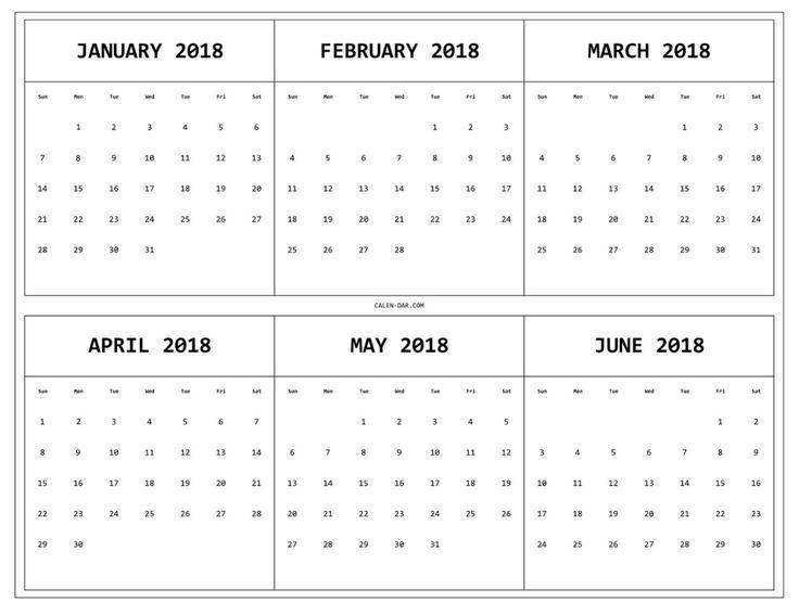 6 Month One Page Printable Calendar 2018 Maxcalendars Calendar