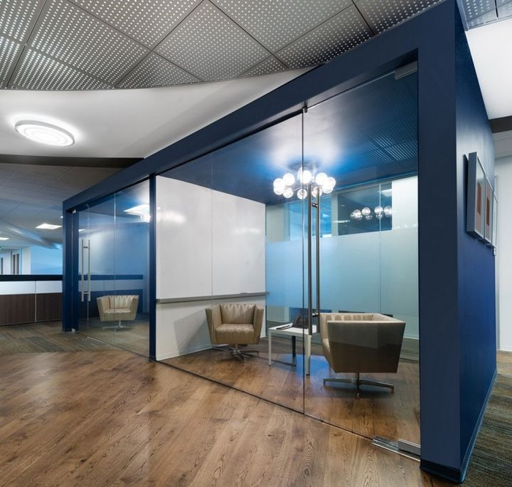 Glass and wood floor combination. Blue walls are too dark, but good to see how they look with darker colour. Volcano Corporation office by ID Studios, San Diego Caifornia office