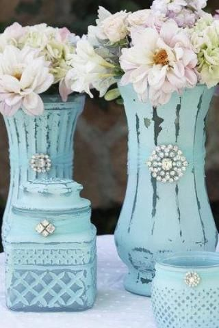 chalk paint ideas (love the use of broaches). can get these things at thrift shops, easy peasy, cheap.