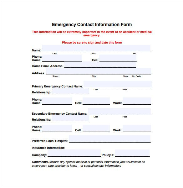 Image result for emergency contact information form